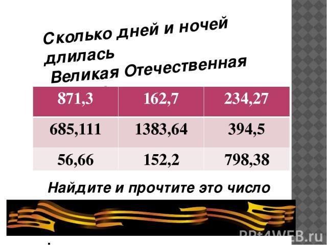 Сколько дней и ночей длилась Великая Отечественная Война? Найдите и прочтите это число . 871,3 162,7 234,27 685,111 1383,64 394,5 56,66 152,2 798,38