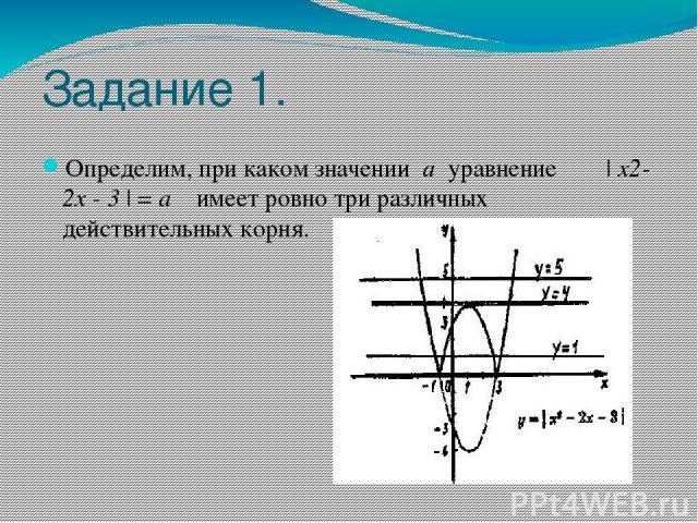 Задание 1. Определим, при каком значении а уравнение   x2- 2x - 3   = а имеет ровно три различных действительных корня.