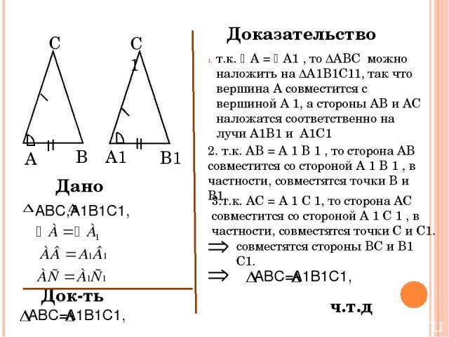 A B С A1 B1 C1 Дано ABC= А1В1С1, Док-ть Доказательство т.к. А = A1 , то ∆ABC можно наложить на ∆A1B1C11, так что вершина А совместится с вершиной A 1, а стороны АВ и АС наложатся соответственно на лучи A1B1 и A1C1 2. т.к. АВ = A 1 B 1 , то сторона А…