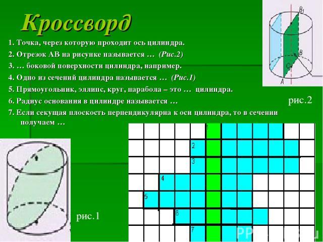 Кроссворд 1. Точка, через которую проходит ось цилиндра. 2. Отрезок АВ на рисунке называется … (Рис.2) 3. … боковой поверхности цилиндра, например. 4. Одно из сечений цилиндра называется … (Рис.1) 5. Прямоугольник, эллипс, круг, парабола – это … цил…
