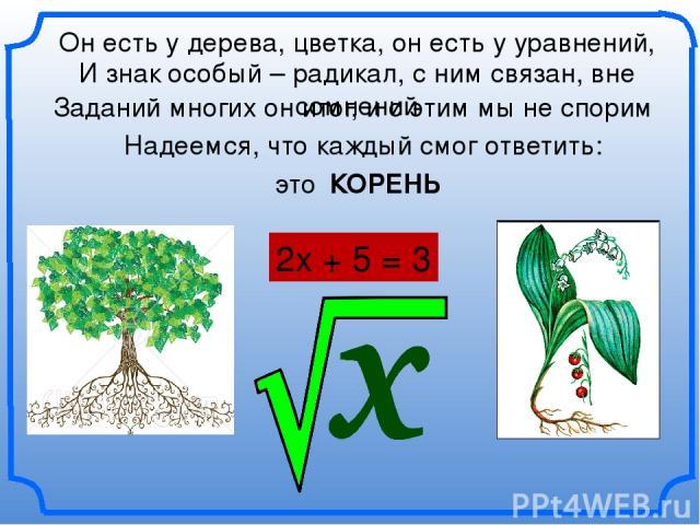 Он есть у дерева, цветка, он есть у уравнений, 2х + 5 = 3 КОРЕНЬ И знак особый – радикал, с ним связан, вне сомнений Заданий многих он итог, и с этим мы не спорим Надеемся, что каждый смог ответить: это
