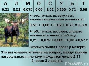 Чтобы узнать высоту лося, сложите полученные результаты: 0,51 + 0,06 + 1,02 + 0,