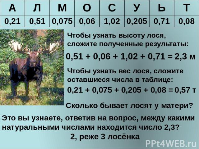 Чтобы узнать высоту лося, сложите полученные результаты: 0,51 + 0,06 + 1,02 + 0,71 = 2,3 м Чтобы узнать вес лося, сложите оставшиеся числа в таблице: 0,21 + 0,075 + 0,205 + 0,08 = 0,57 т Сколько бывает лосят у матери? Это вы узнаете, ответив на вопр…