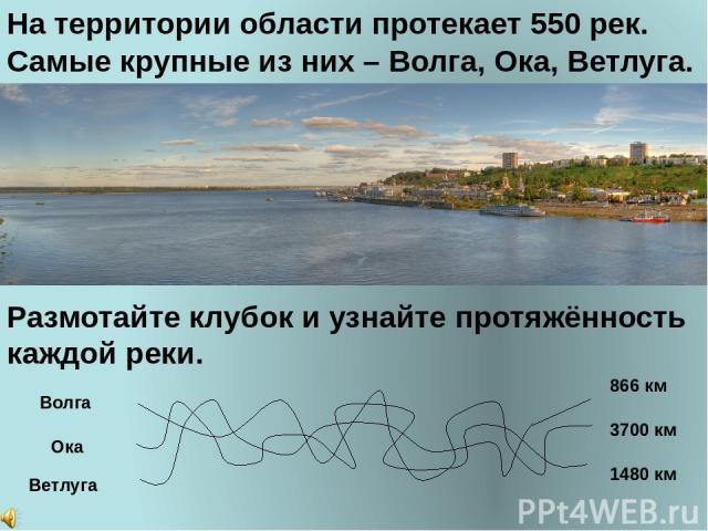 На территории области протекает 550 рек. Самые крупные из них – Волга, Ока, Ветлуга. Размотайте клубок и узнайте протяжённость каждой реки. Волга Ока Ветлуга 3700 км 866 км 1480 км