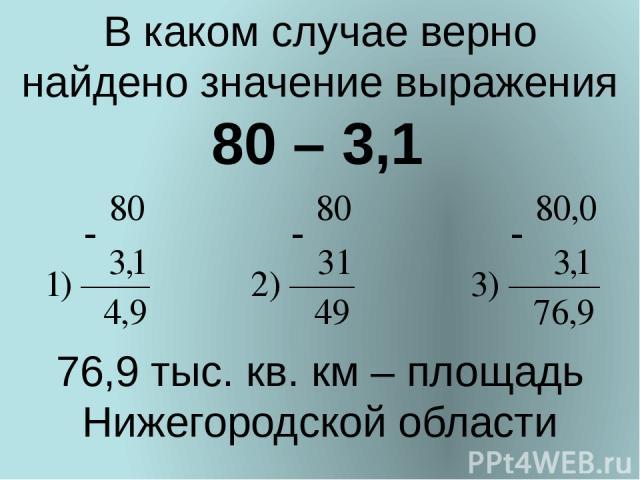 В каком случае верно найдено значение выражения 80 – 3,1 76,9 тыс. кв. км – площадь Нижегородской области