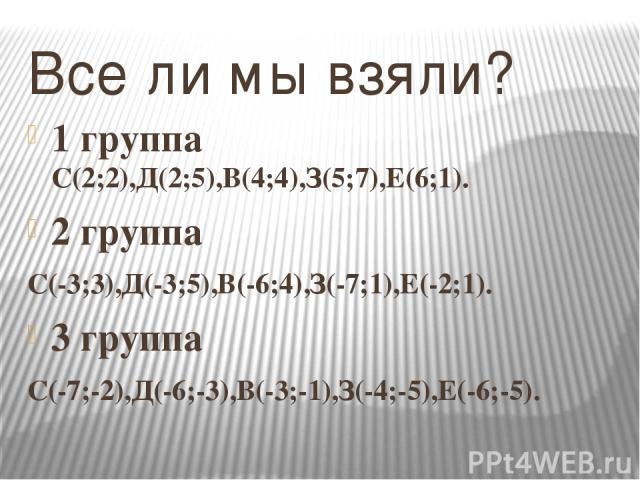 Все ли мы взяли? 1 группа С(2;2),Д(2;5),В(4;4),З(5;7),Е(6;1). 2 группа С(-3;3),Д(-3;5),В(-6;4),З(-7;1),Е(-2;1). 3 группа С(-7;-2),Д(-6;-3),В(-3;-1),З(-4;-5),Е(-6;-5).