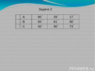 Задача 2 А 90 29 17 В 50 61 90 С 40 90 73