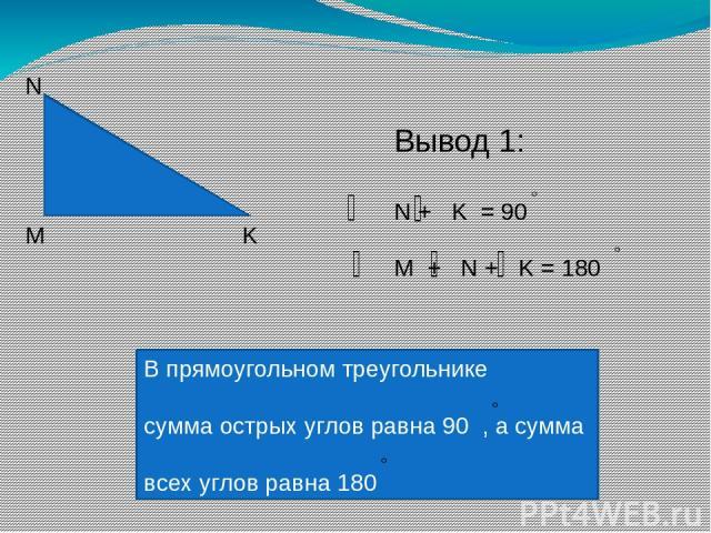 М N K Вывод 1: N + K = 90 M + N + K = 180 В прямоугольном треугольнике сумма острых углов равна 90 , а сумма всех углов равна 180