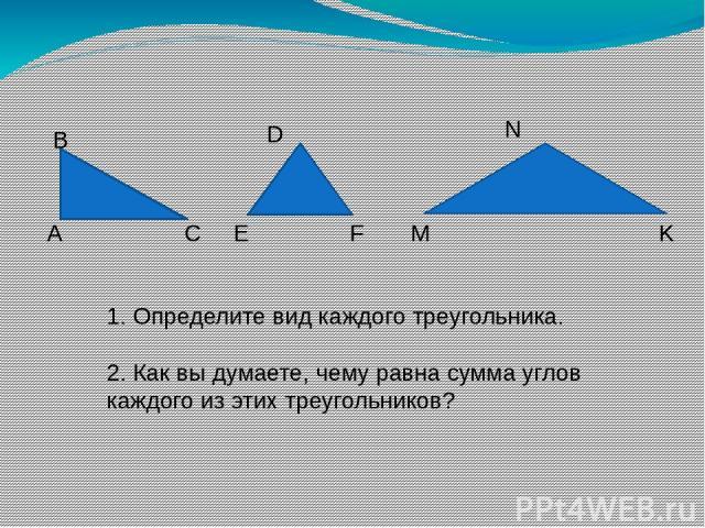 1. Определите вид каждого треугольника. 2. Как вы думаете, чему равна сумма углов каждого из этих треугольников? А В С E D F M N K
