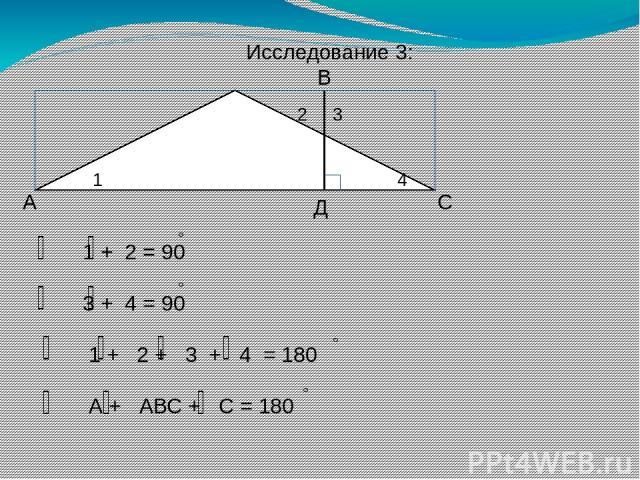 А В С Д 1 2 3 4 1 + 2 = 90 3 + 4 = 90 1 + 2 + 3 + 4 = 180 А + АВС + С = 180 Исследование 3: