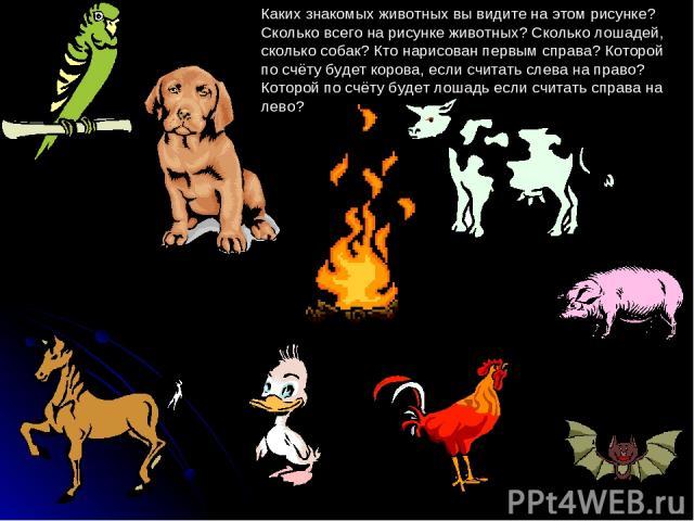 Каких знакомых животных вы видите на этом рисунке? Сколько всего на рисунке животных? Сколько лошадей, сколько собак? Кто нарисован первым справа? Которой по счёту будет корова, если считать слева на право? Которой по счёту будет лошадь если считать…