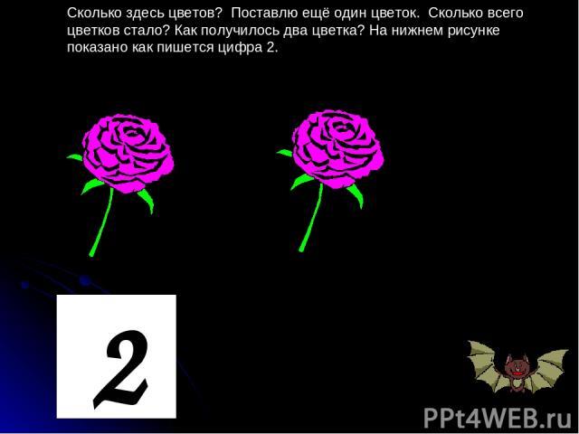 Сколько здесь цветов? Поставлю ещё один цветок. Сколько всего цветков стало? Как получилось два цветка? На нижнем рисунке показано как пишется цифра 2. 2