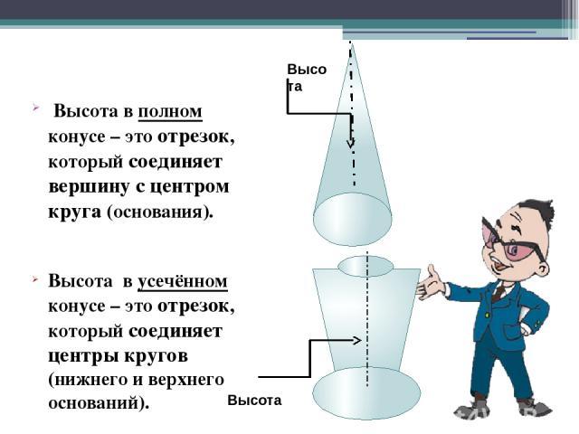 Вывод: Полную поверхность усеченного конуса составляет боковая поверхность и два основания – верхнее и нижнее. Верхнее основание Нижнее основание Боковая поверхность