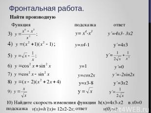 Фронтальная работа. Найти производную Функция подсказка ответ y´=4x3- 3x2 y=x4-1