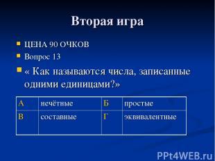 Вторая игра ЦЕНА 90 ОЧКОВ Вопрос 13 « Как называются числа, записанные одними ед