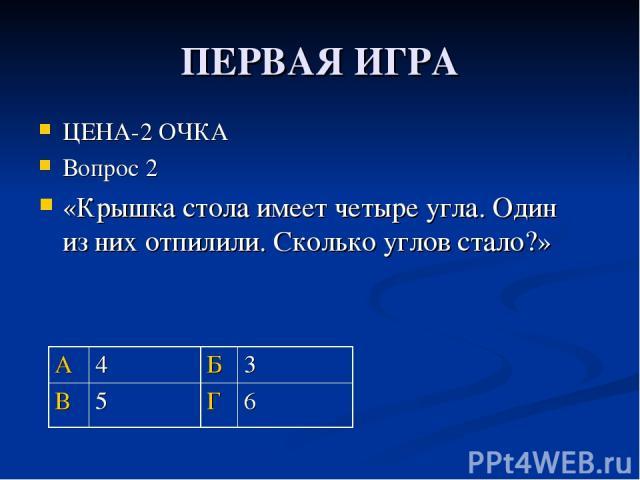 ПЕРВАЯ ИГРА ЦЕНА-2 ОЧКА Вопрос 2 «Крышка стола имеет четыре угла. Один из них отпилили. Сколько углов стало?» А 4 Б 3 В 5 Г 6