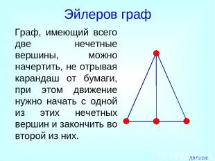 Эйлеров граф Граф, имеющий всего две нечетные вершины, можно начертить, не отрыв