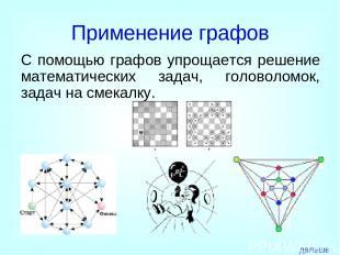 Применение графов С помощью графов упрощается решение математических задач, голо