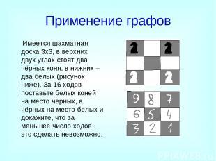 Применение графов Имеется шахматная доска 3x3, в верхних двух углах стоят два чё