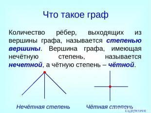 Что такое граф Количество рёбер, выходящих из вершины графа, называется степенью