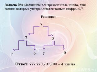 Задача №2 (Запишите все трёхзначные числа, для записи которых употребляются толь