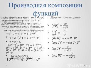 Производная композиции функций Другие производные