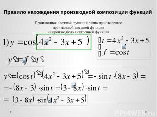 Правило нахождения производной композиции функций Производная сложной функции ра