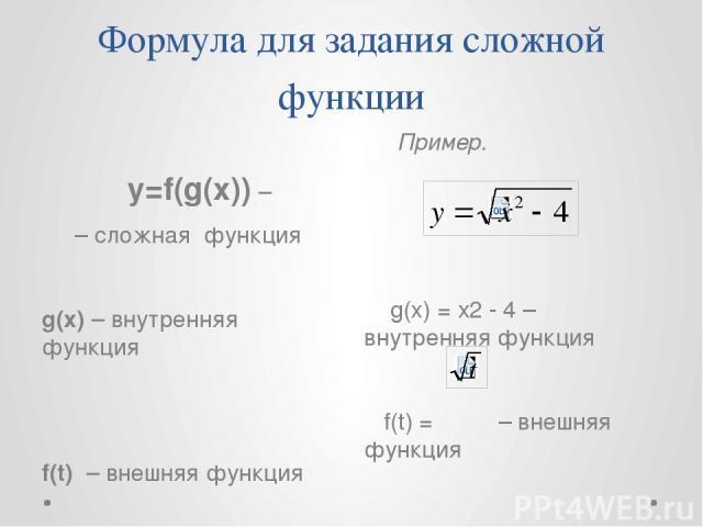 Формула для задания сложной функции y=f(g(x)) – – сложная функция g(x) – внутренняя функция f(t) – внешняя функция Пример. g(x) = х2 - 4 – внутренняя функция f(t) = – внешняя функция