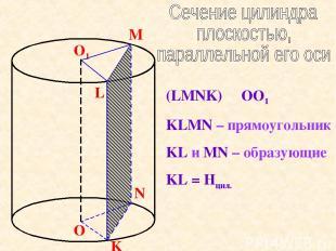 O O1 L M K N (LMNK) ׀׀ OO1 KLMN – прямоугольник KL и MN – образующие KL = Hцил.