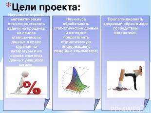 Цели проекта:  Пропагандировать здоровый образ жизни посредством математики. На