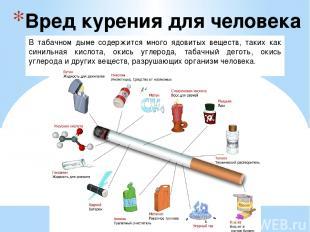 Вред курения для человека В табачном дыме содержится много ядовитых веществ, так