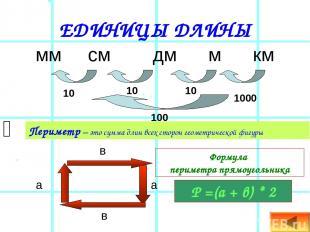 ЕДИНИЦЫ ДЛИНЫ мм см дм м км 10 10 10 1000 100 Периметр – это сумма длин всех сто