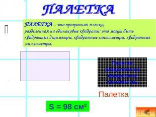 Палетка S = 98 см2 ПАЛЕТКА – это прозрачная пленка, разделенная на одинаковые кв