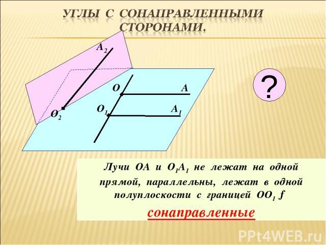 О А О1 А1 Лучи ОА и О1А1 не лежат на одной прямой, параллельны, лежат в одной полуплоскости с границей ОО1 → сонаправленные А2 О2 ?
