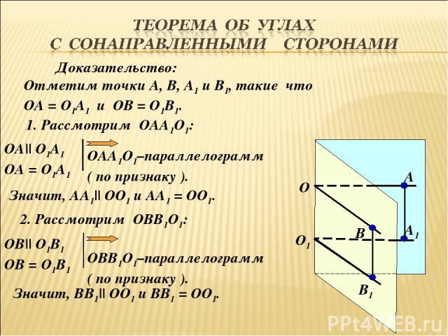 О1 О А1 В1 В А Доказательство: Отметим точки А, В, А1 и В1, такие что ОА = О1А1 и ОВ = О1В1. 1. Рассмотрим ОАА1О1: ОА|| О1А1 ОА = О1А1 ОАА1О1–параллелограмм ( по признаку ). 2. Рассмотрим ОВВ1О1: Значит, АА1|| ОО1 и АА1 = ОО1. ОВ|| О1В1 ОВ = О1В1 ОВ…