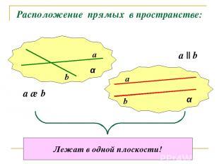 Расположение прямых в пространстве: α α a b a b a ∩ b a || b Лежат в одной плоск