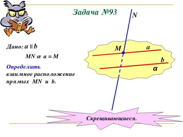 Задача №93 α a b М N Дано: a || b MN ∩ a = M Определить взаимное расположение прямых MN u b. Скрещивающиеся.