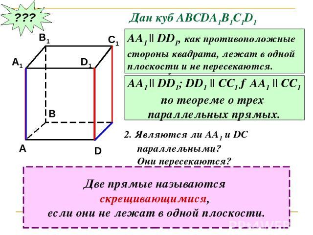 ??? Дан куб АВСDA1B1C1D1 Являются ли параллельными прямые АА1 и DD1; АА1 и СС1 ? Почему? АА1 || DD1, как противоположные стороны квадрата, лежат в одной плоскости и не пересекаются. АА1 || DD1; DD1 || CC1 →AA1 || CC1 по теореме о трех параллельных п…