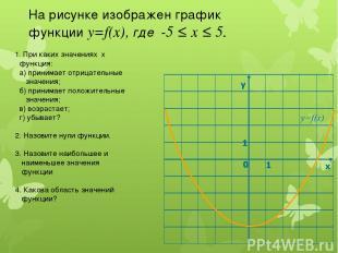 На рисунке изображен график функции у=f(x), где -5 ≤ х ≤ 5. 1. При каких значени