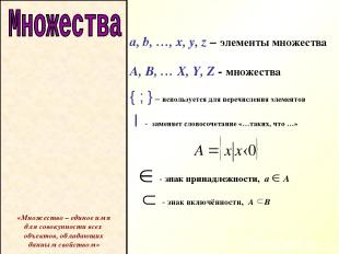 a, b, …, x, y, z – элементы множества A, B, … X, Y, Z - множества { ; } – исполь