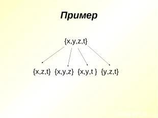 Пример {x,y,z,t} {x,z,t} {x,y,z} {x,y,t } {y,z,t}