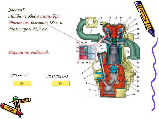 Задача5. Найдите объём цилиндра двигателя высотой 18см и диаметром 22,2 см. а)291,6п см3 б)2217,78п см3 Варианты ответов:
