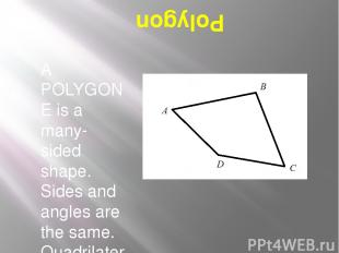 Polygon A POLYGONE is a many-sided shape. Sides and angles are the same. Quadril