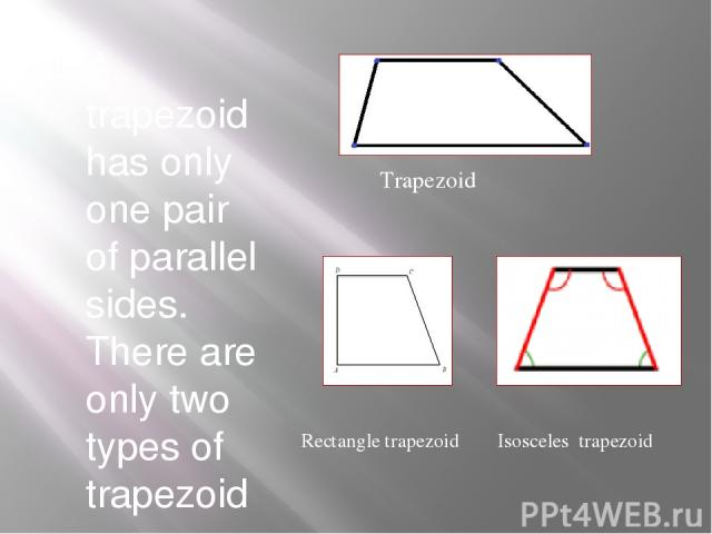 A trapezoid has only one pair of parallel sides. There are only two types of trapezoid . Trapezoid Isosceles trapezoid Rectangle trapezoid