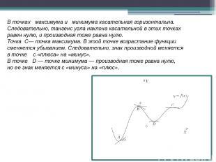 Вточках максимума и минимума касательная горизонтальна. Следовательно, танген