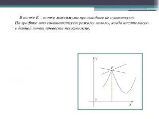 В точке Е – точке максимума производная не существует. На графике это соответств