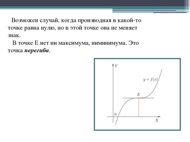 Возможен случай, когда производная в какой-то точке равна нулю, но в этой точке она не меняет знак. В точке Е нет ни максимума, ниминимума. Это точка перегиба.