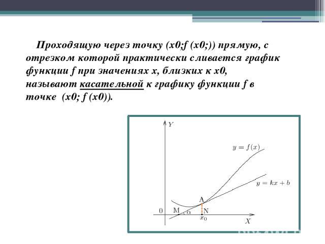 Проходящую через точку (x0;f (x0;)) прямую, с отрезком которой практически сливается график функции f при значениях х, близких к х0, называюткасательной к графику функцииf в точке (х0; f (х0)).