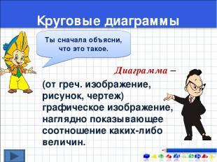 Круговые диаграммы Диаграмма – (от греч. изображение, рисунок, чертеж) графическ