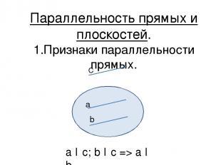 Параллельность прямых и плоскостей. 1.Признаки параллельности прямых. С а b a ǁ